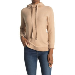 Stitchdrop Knit Hooded Pullover L Long Sleeve Drawstring Ribbed Trim Nougat NWT